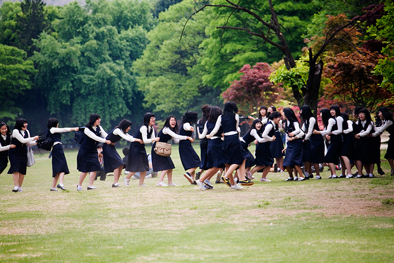 Female students have fun in South Korea